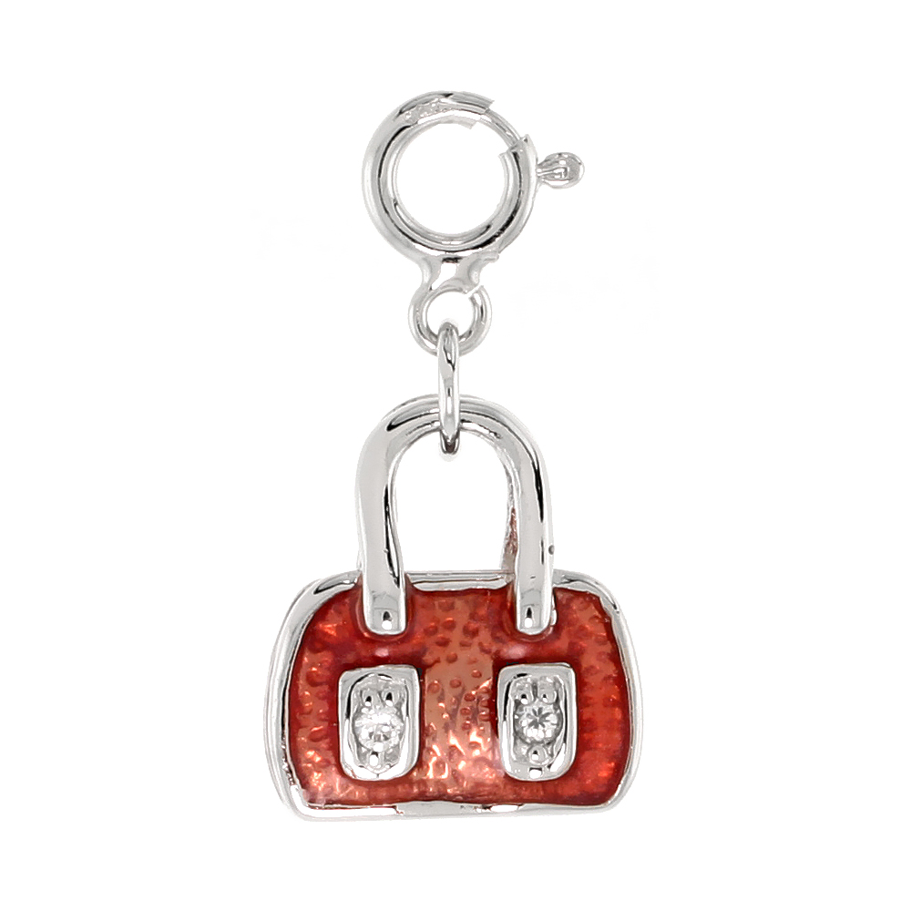 Sterling Silver Jeweled Purse Pendant, Orange-Red Enamel, w/ CZ Stones, 9/16 in. (14 mm)