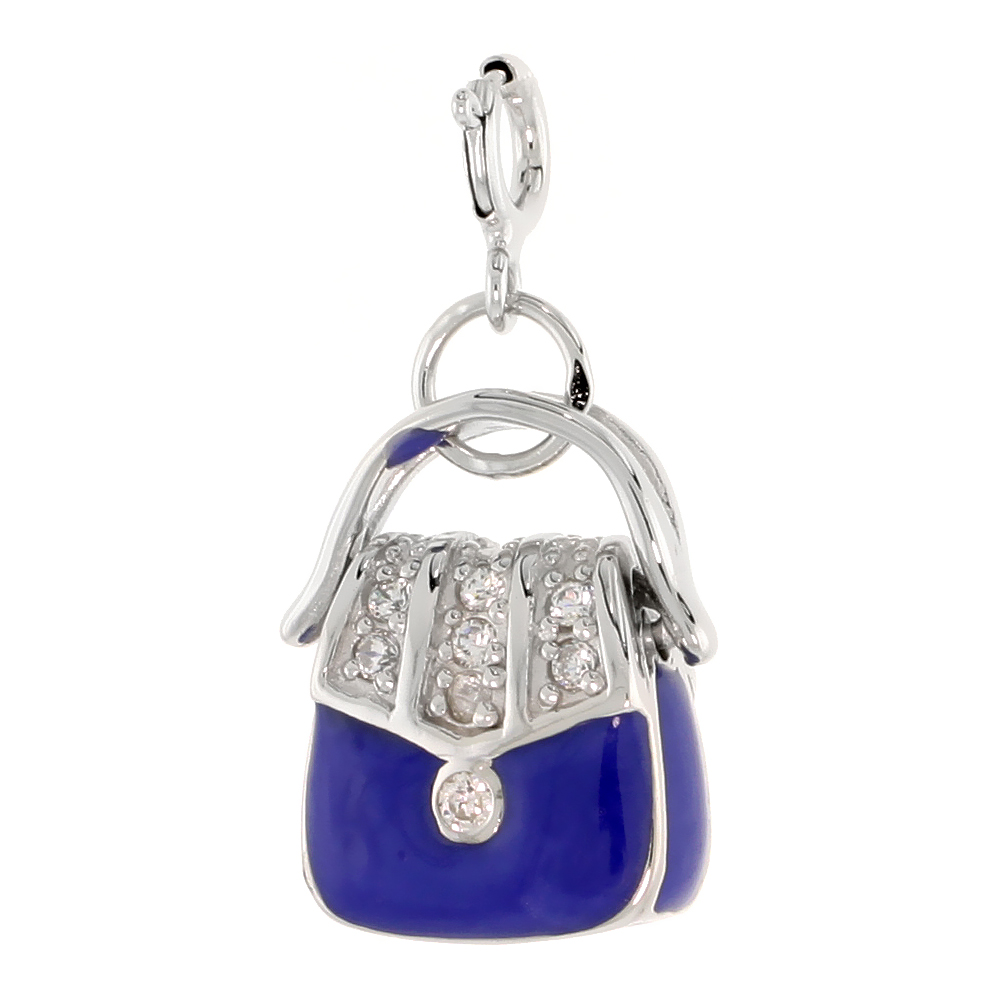 Sterling Silver Enamel Blue Purse Charm with clasp for Bracelets Women CZ Accent 13/16 inch