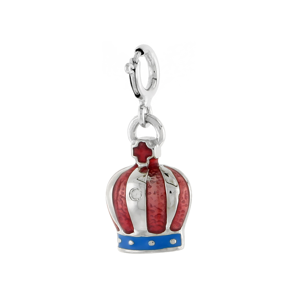 Sterling Silver Enamel Red White Blue Cross & Crown Charm with clasp for Bracelets Women 5/8 inch