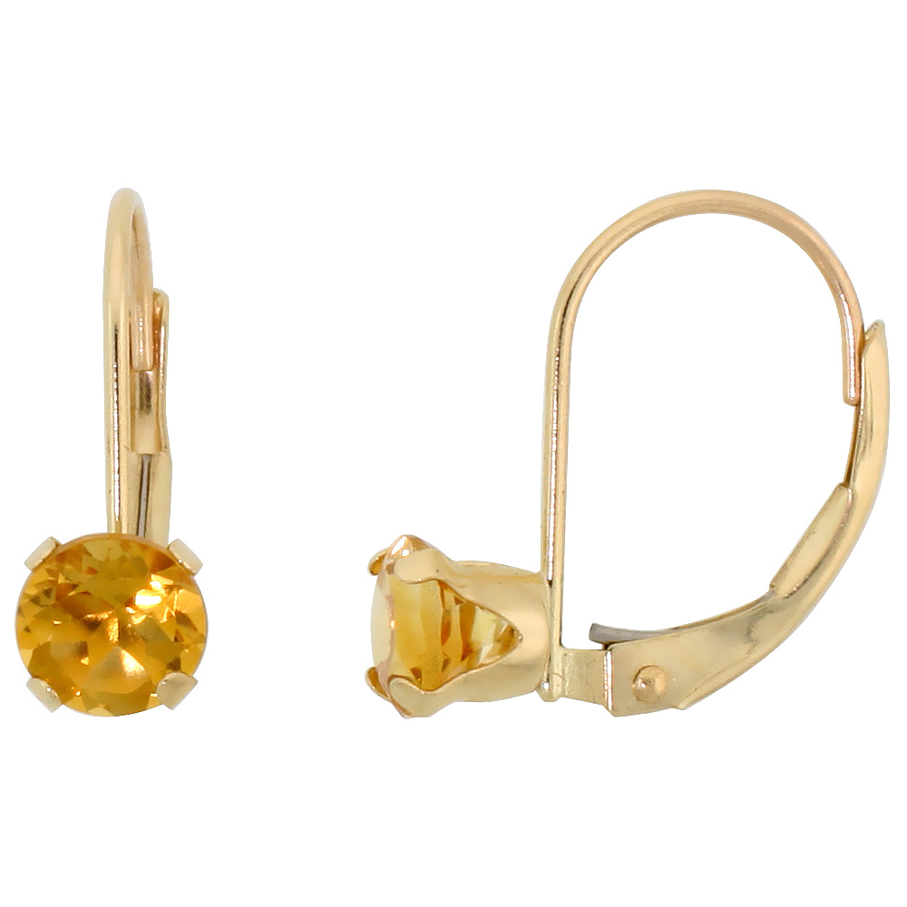 10k Yellow Gold Natural Citrine Leverback Earrings 5mm Brilliant Cut November Birthstone, 9/16 inch long