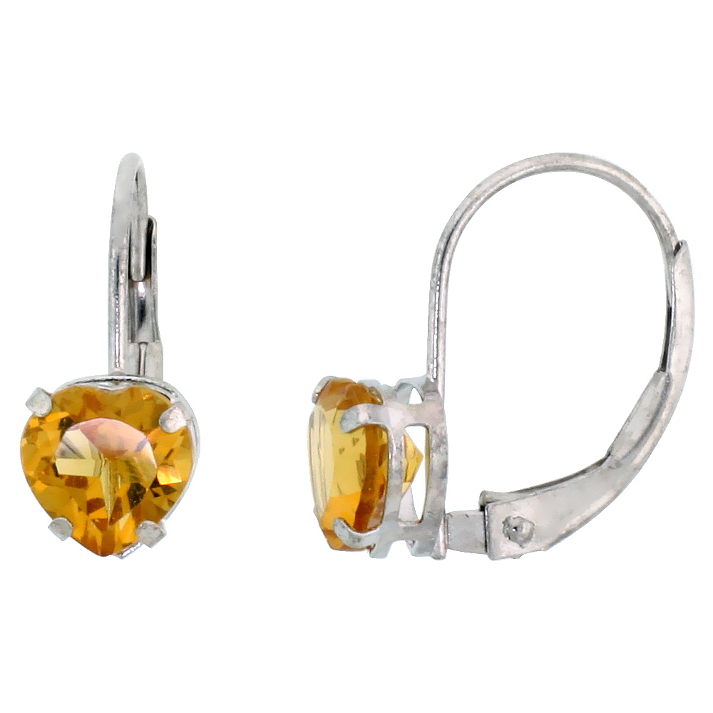 10k White Gold Natural Citrine Heart Leverback Earrings 6mm November Birthstone, 9/16 inch long