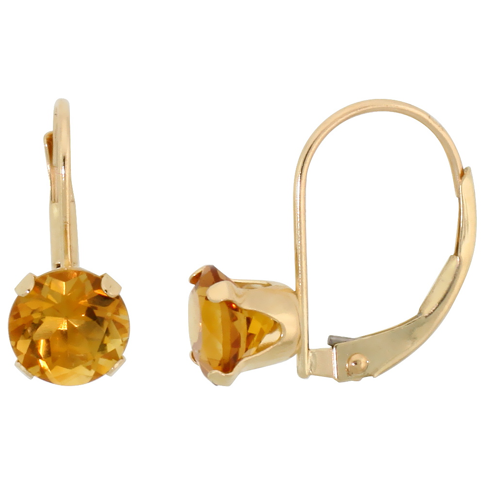 10k Yellow Gold Natural Citrine Leverback Earrings 6mm Brilliant Cut November Birthstone, 9/16 inch long