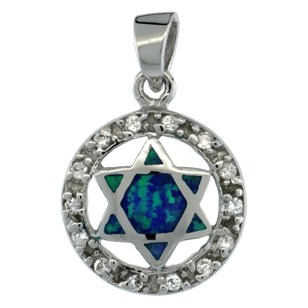 Sterling Silver Star of David Pendant Synthetic Opal Inlay Cubic Zirconia Accent, 9/16 in. (15 mm)