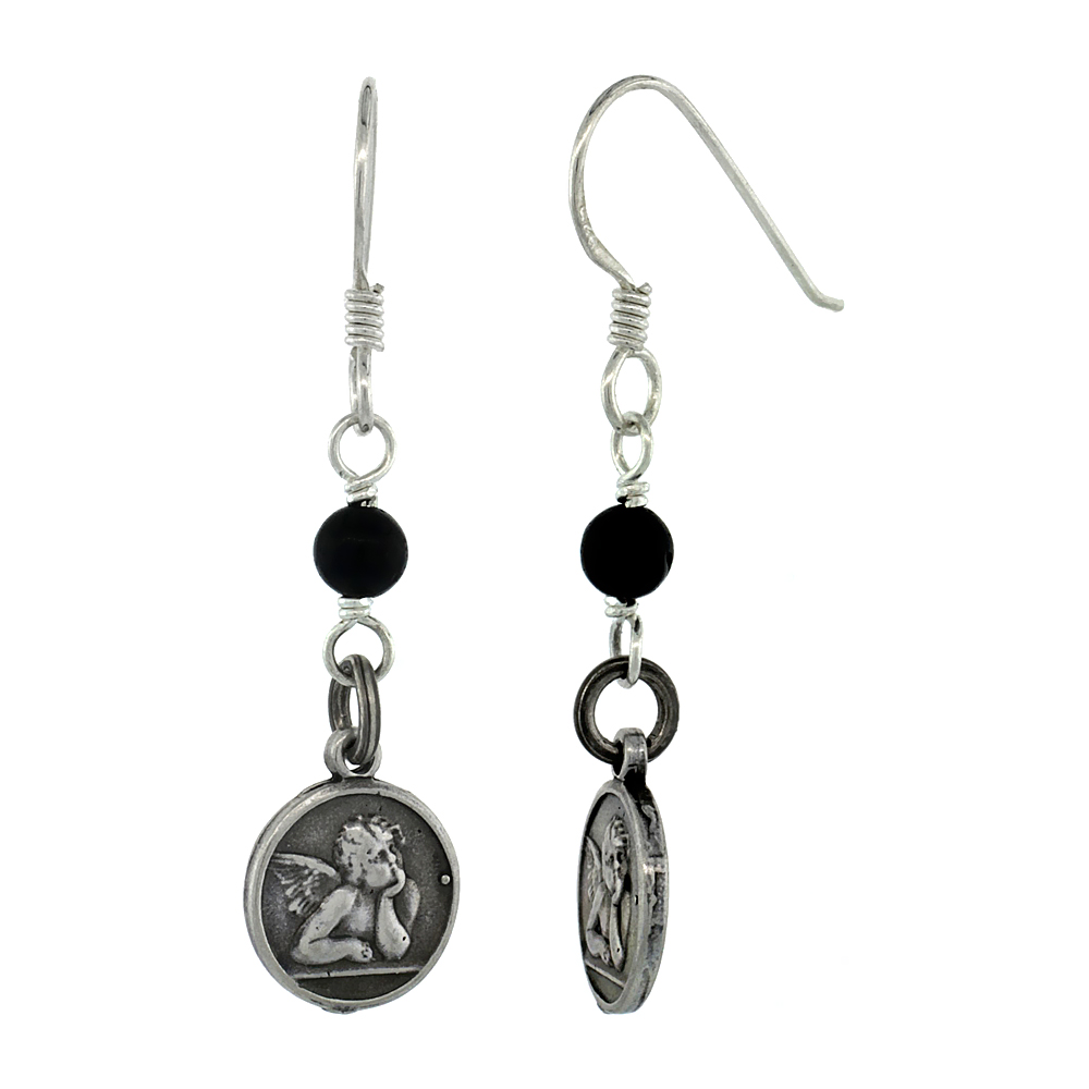 Sterling Silver Guardian Angel Dangle Earrings, Black Onyx Beads, 1 1/2 inch tall