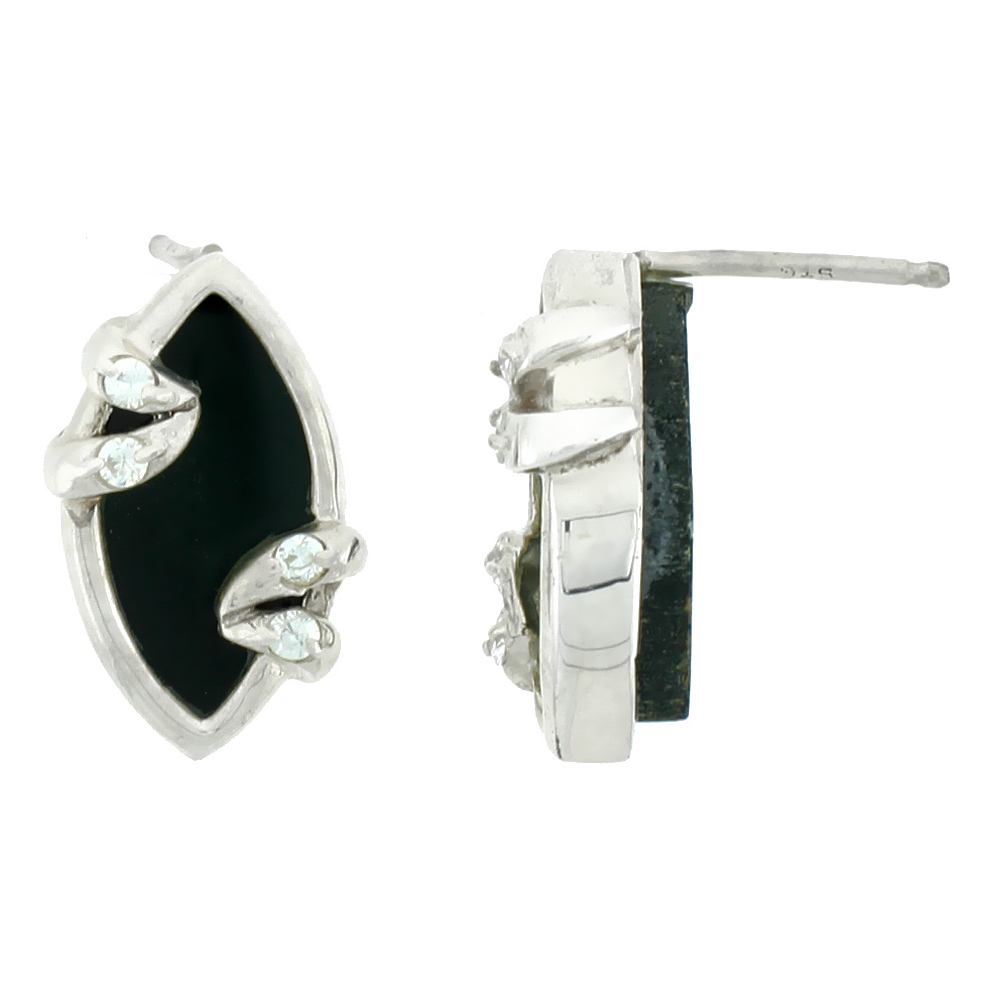 Small Sterling Silver Jet Stone Marquis shape Earrings 3/4 inch wide,s 3/4 inch long
