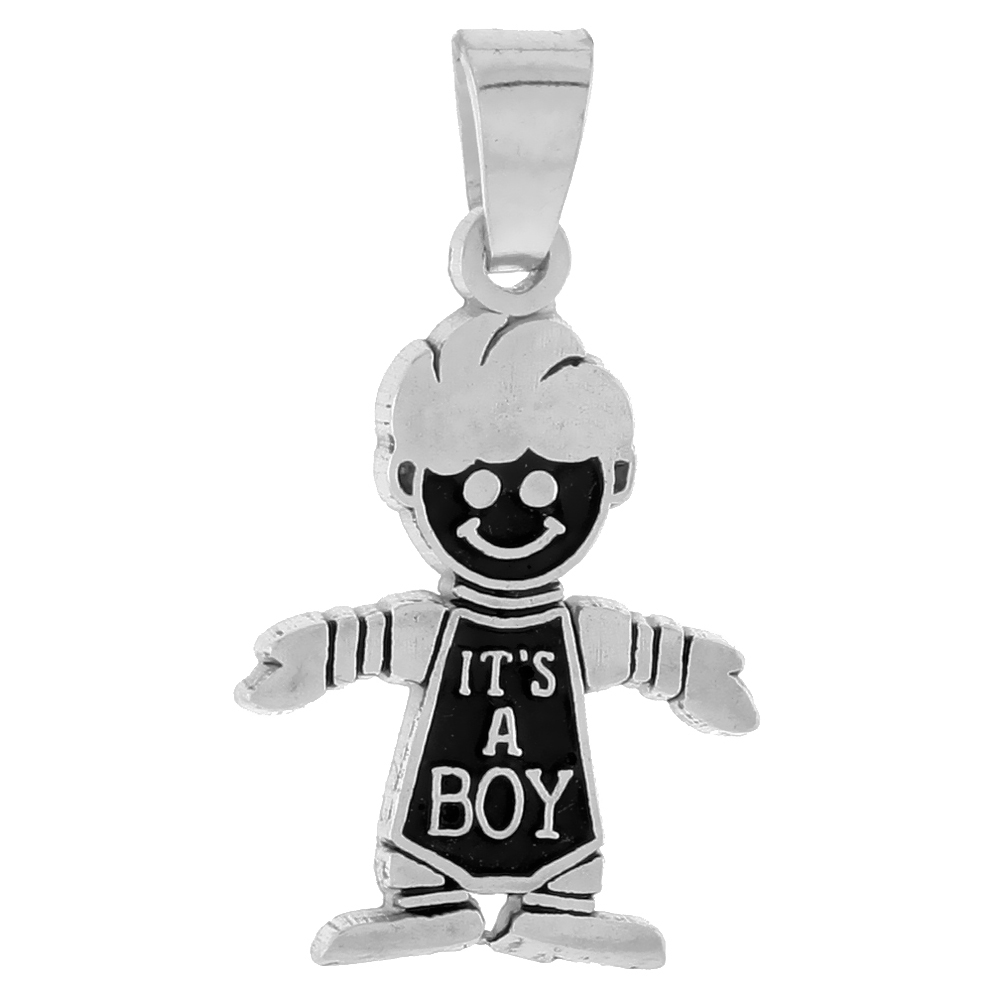 Sterling Silver Smiling Boy Pendant, 13/16 inch tall