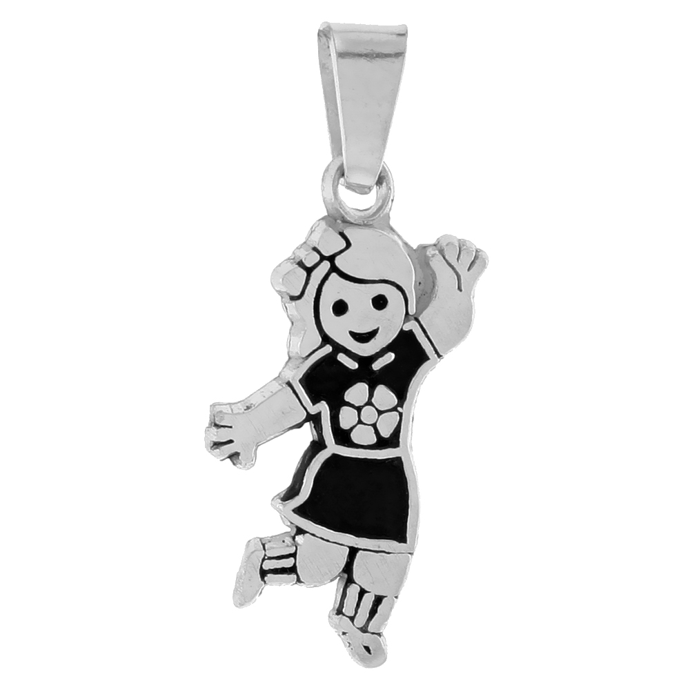 Sterling Silver Bubbly Girl Pendant, 7/8 inch tall