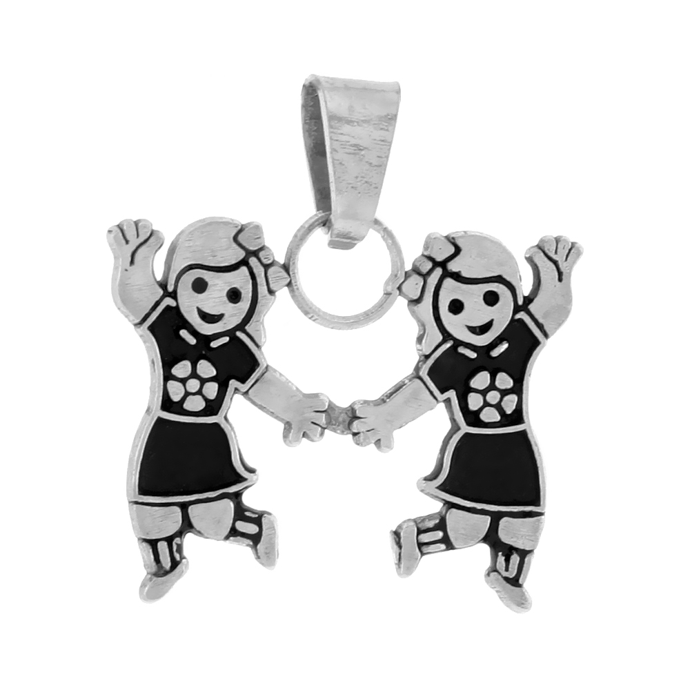 Sterling Silver Pendant 2 Bubbly Girls, 11/16 inch tall