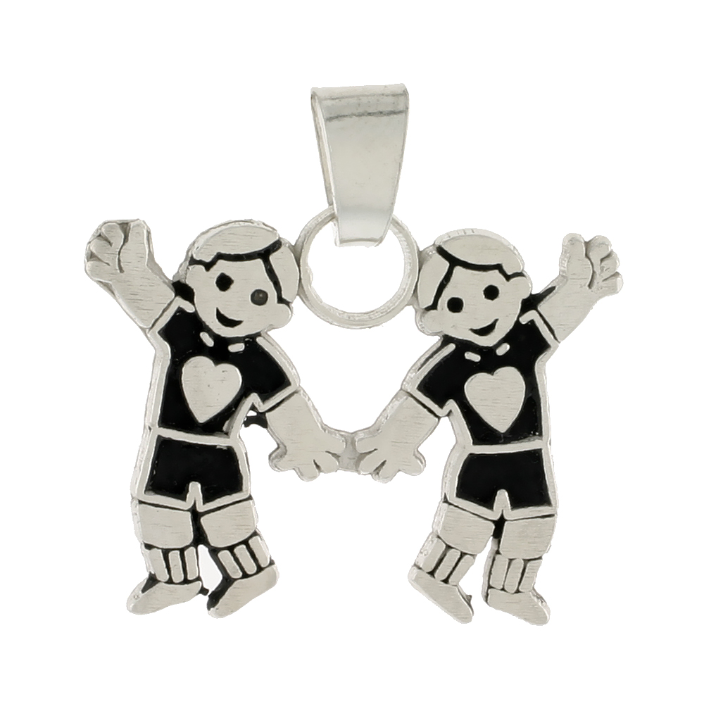 Sterling Silver Pendant 2 Bubbly Boys, 11/16 inch tall