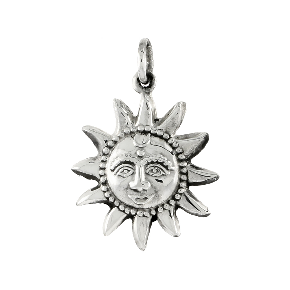 Sterling Silver Sun Pendant a Smiling Face, 11/16 inch tall