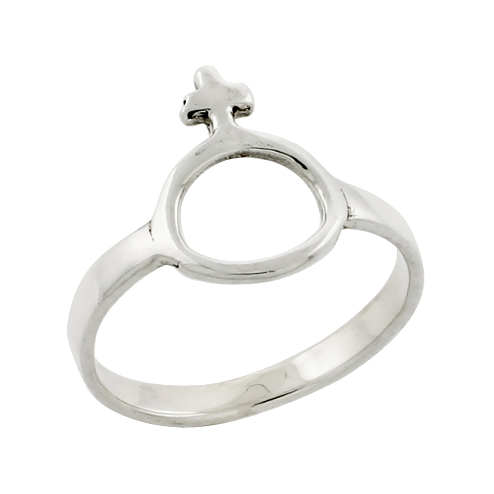 Sterling Silver Female Symbol Ring, 9/16 inch