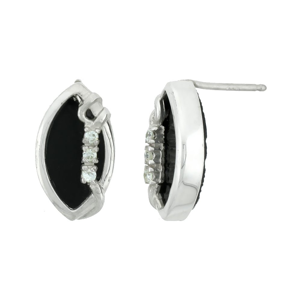 Sterling Silver Marquise-shaped Earrings, Black Onyx & 3 Cubic Zirconia Stones, 5/8 inch tall