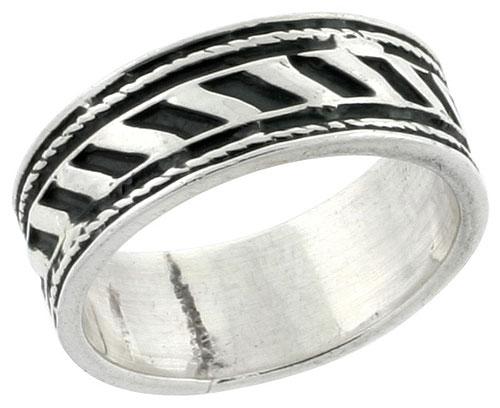 Sterling Silver 1/4 inch Rope Band