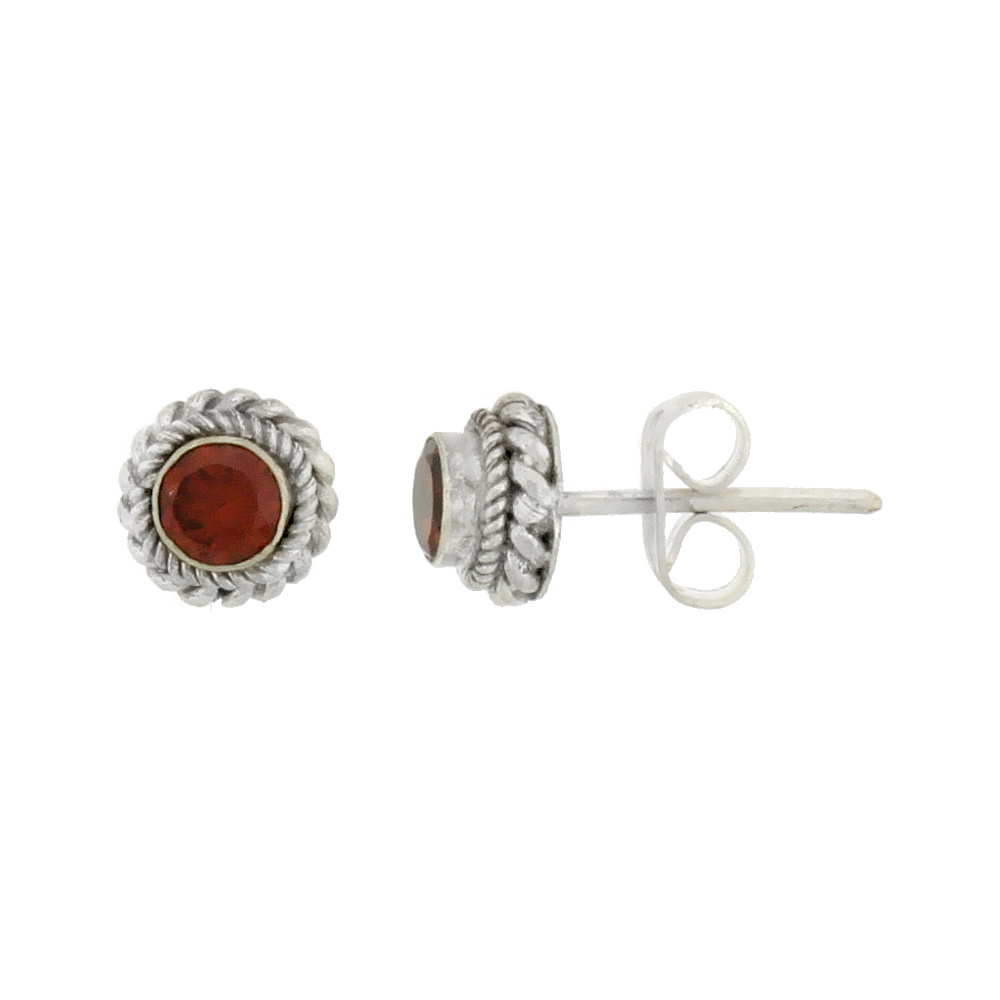 Sterling Silver Stud Earrings, Rope Designs & 4mm Brilliant Cut Natural Carnelian Stone, 1/4 inch tall
