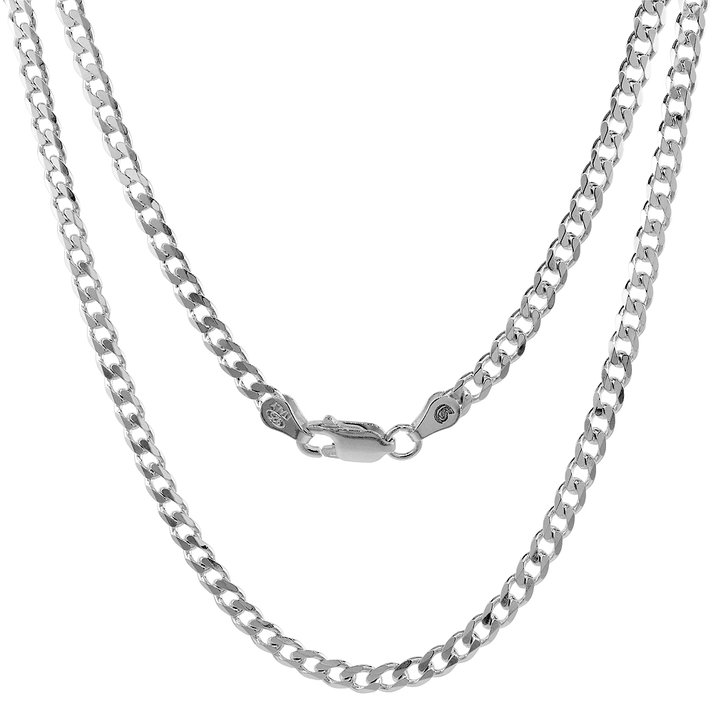 Sterling Silver Curb Cuban Link Chain Necklaces & Bracelets 3.8mm Beveled Edges Nickel Free Italy, 7-30
