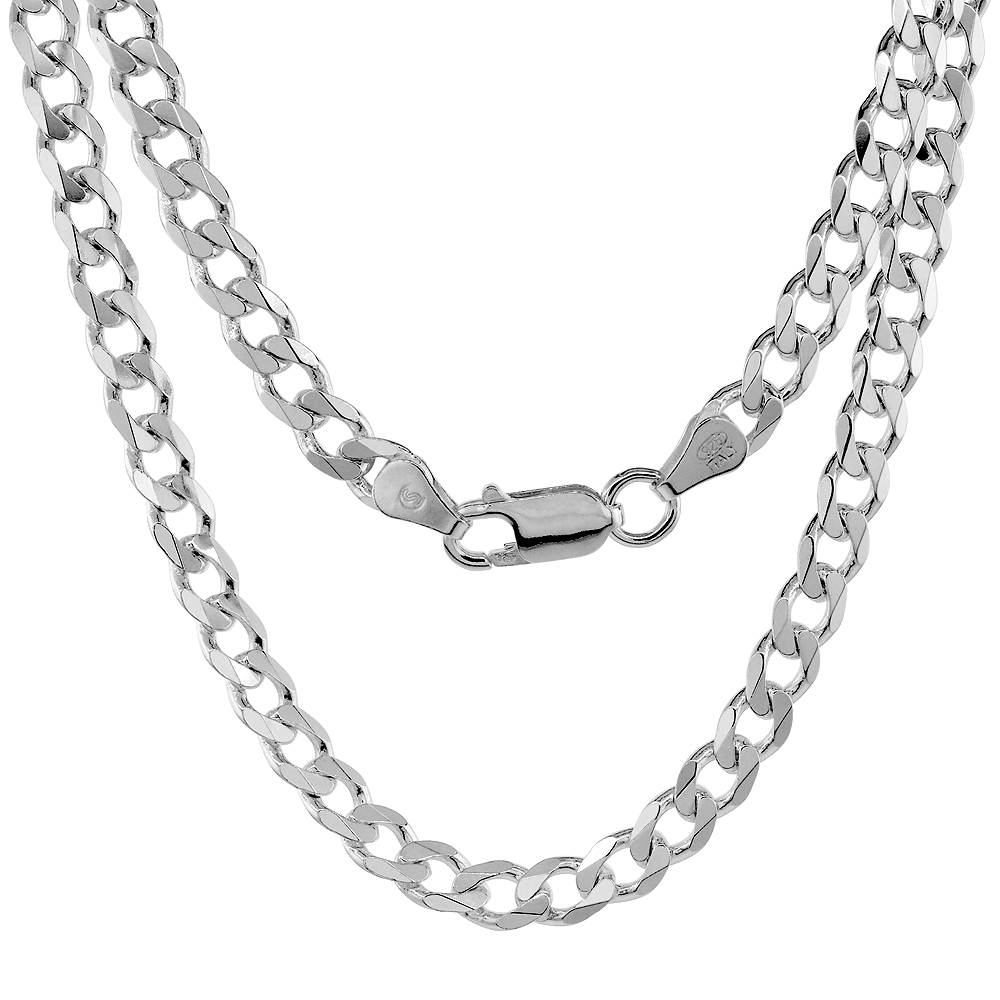 Sterling Silver Curb Cuban Link Chain Necklaces & Bracelets 5.5mm Beveled Edges Nickel Free Italy, 7-30