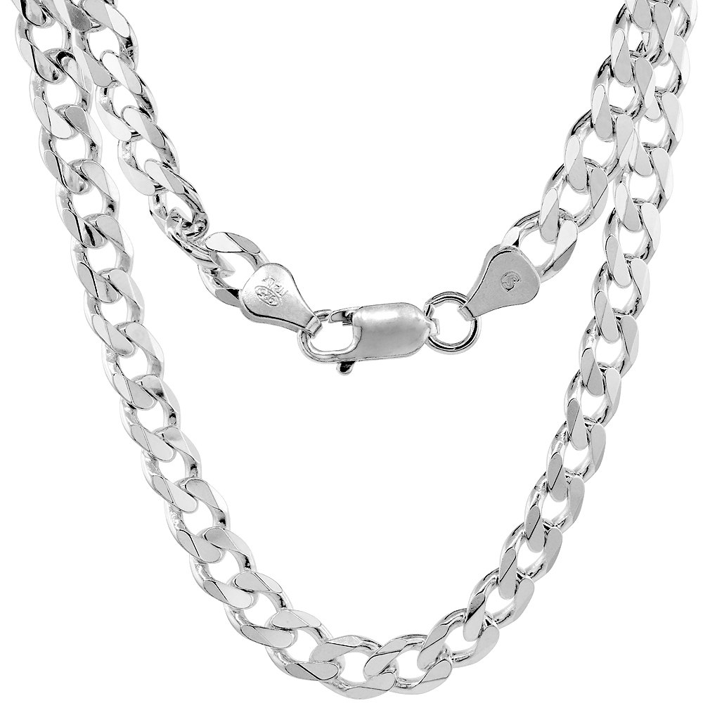 Sterling Silver Curb Cuban Link Chain Necklaces & Bracelets 6.6mm Beveled Edges Nickel Free Italy, 7-30