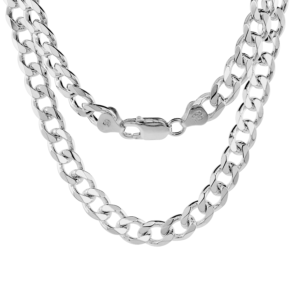 Sterling Silver Curb Cuban Link Chain Necklaces & Bracelets 8mm Nickel Free Italy, sizes 7 - 30 inch