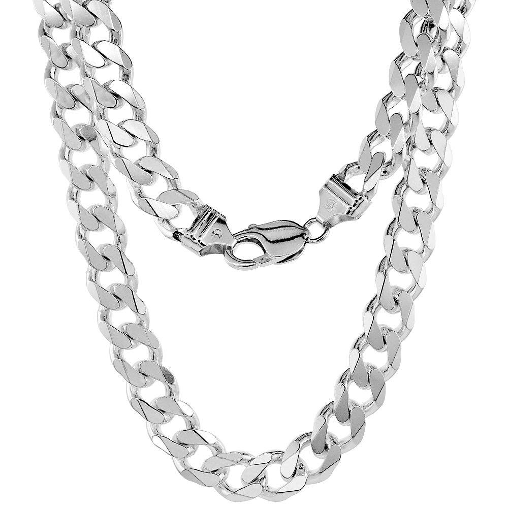 Sterling Silver Heavy Curb Chain Necklaces Bracelets Beveled Edges Nickel Free Italy