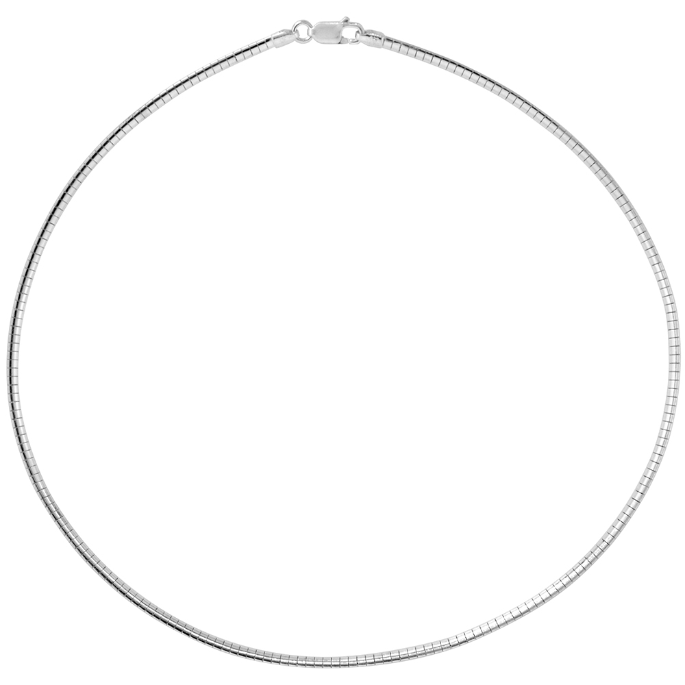 Sterling Silver Omega Necklace 2mm Nickel Free Italy 1/16 inch wide, sizes 7 - 20 inch
