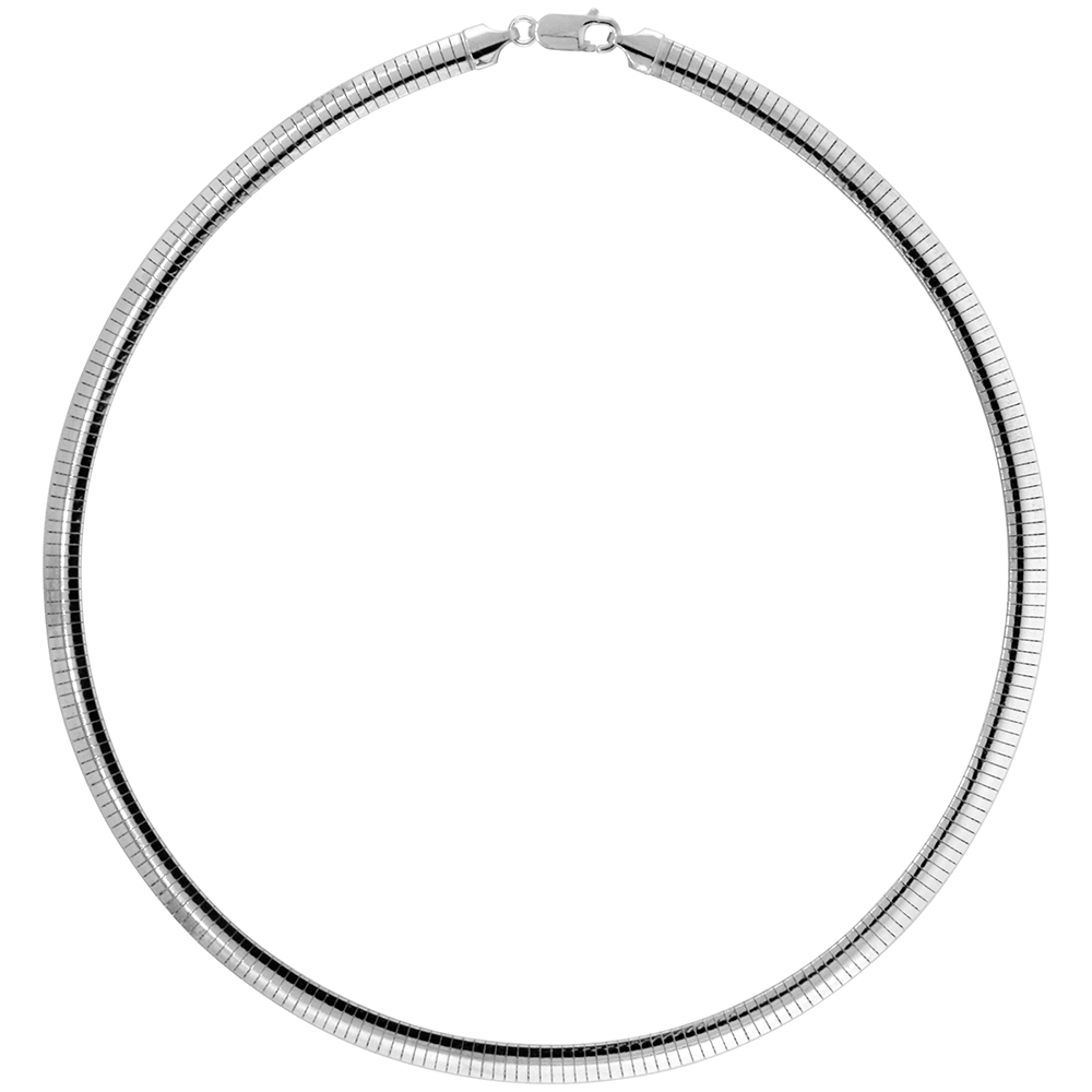 Sterling Silver Omega Necklace 6mm Nickel Free Italy 1/4 inch wide, sizes 7 - 20 inch