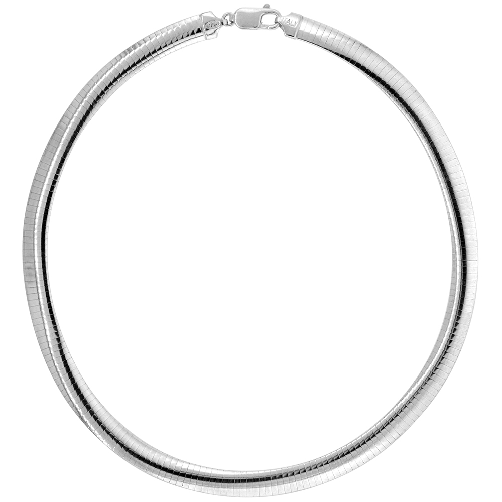 Sterling Silver Omega Necklace 8mm Nickel Free Italy 5/16 inch wide, sizes 7 - 20 inch