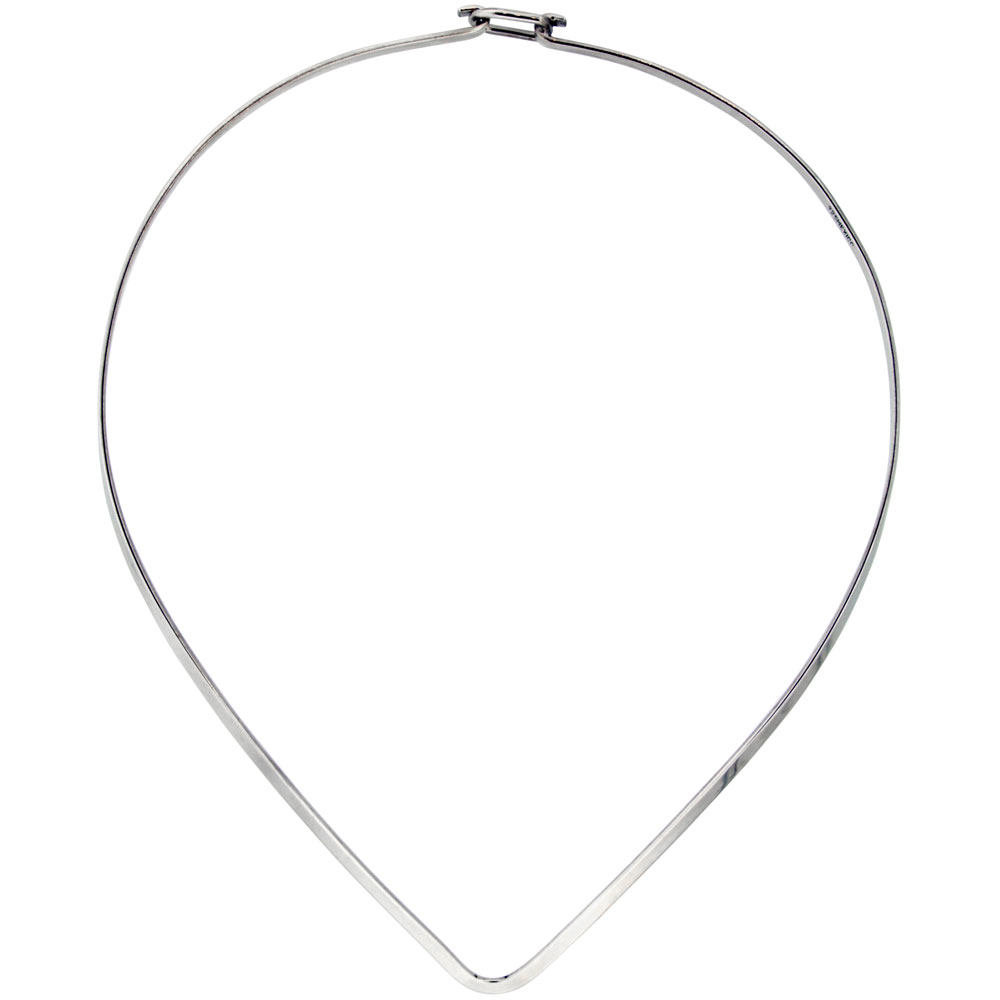 Sterling Silver Wire Choker Collar Necklace V shape with clasp Handmade 1/8 inch