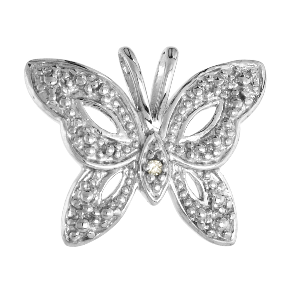 Sterling Silver Diamond Butterfly Pendant Flawless Finish Nice Diamonds 1/2 inch