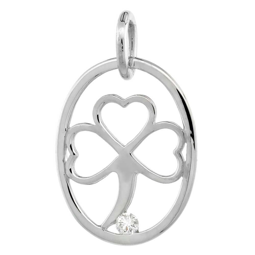 Sterling Silver Diamond Shamrock Pendant Clover Flawless Finish Nice Diamonds 3/4 inch