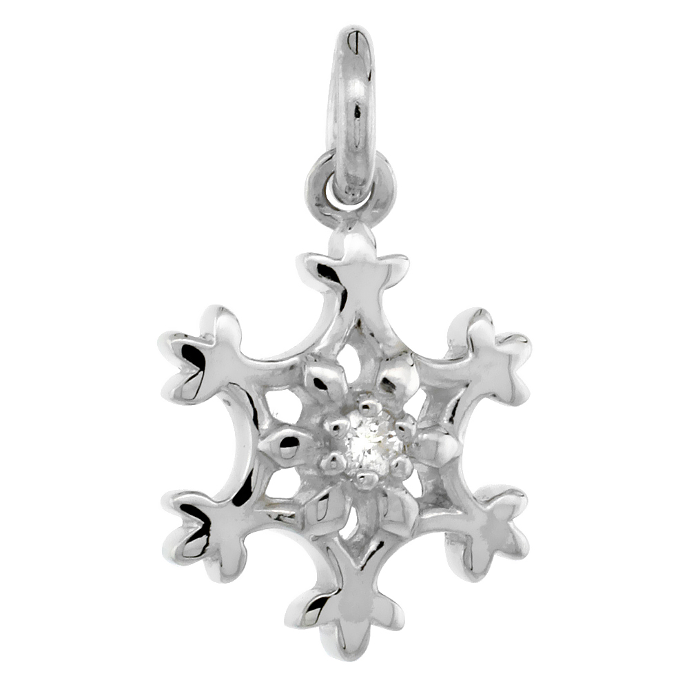Tiny Sterling Silver Diamond Snowflake Pendant Flawless Finish Nice Diamonds 1/2 inch