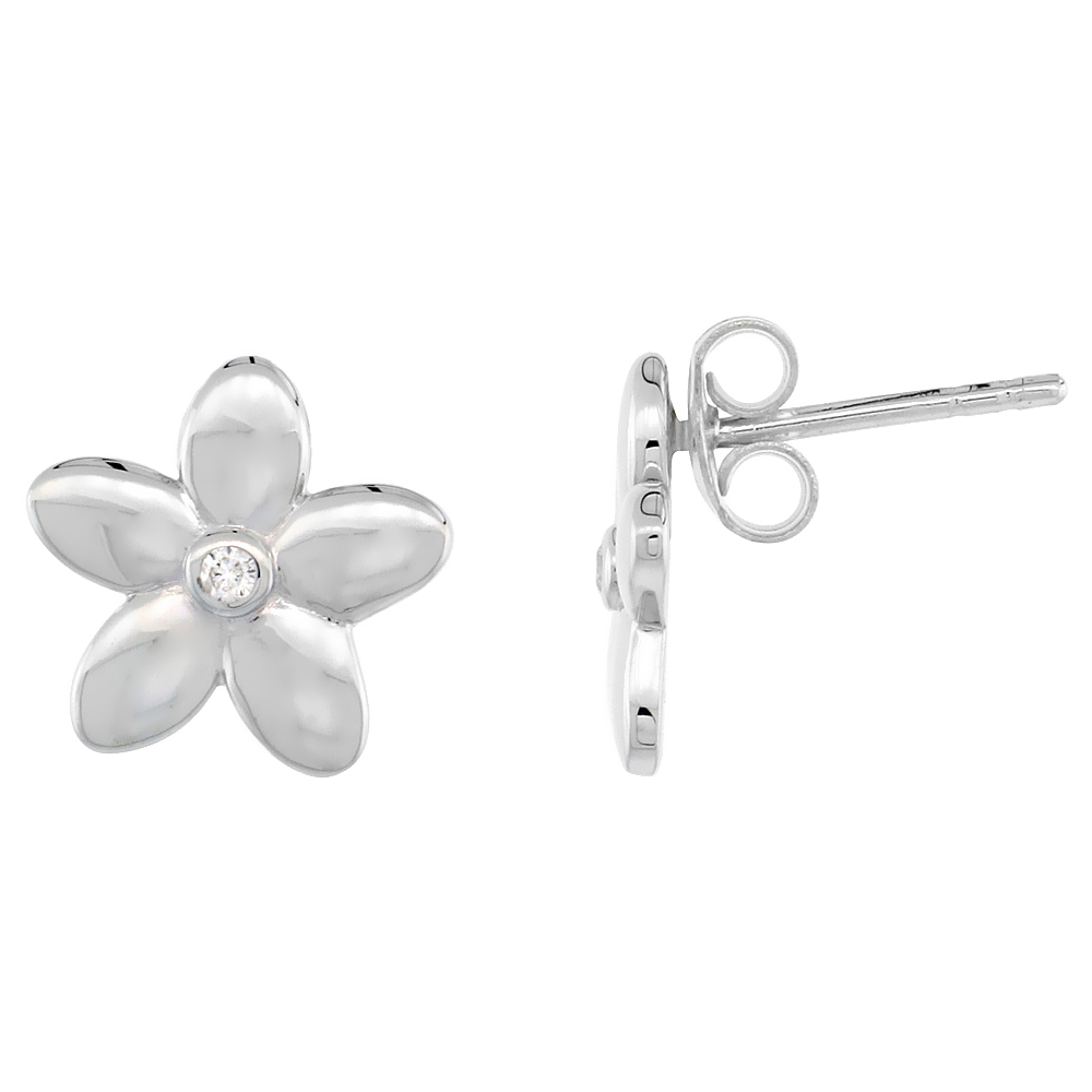 Dainty Sterling Silver Diamond Hawaiian Flower Stud Earrings Flawless Finish Nice Diamonds 1/2 inch