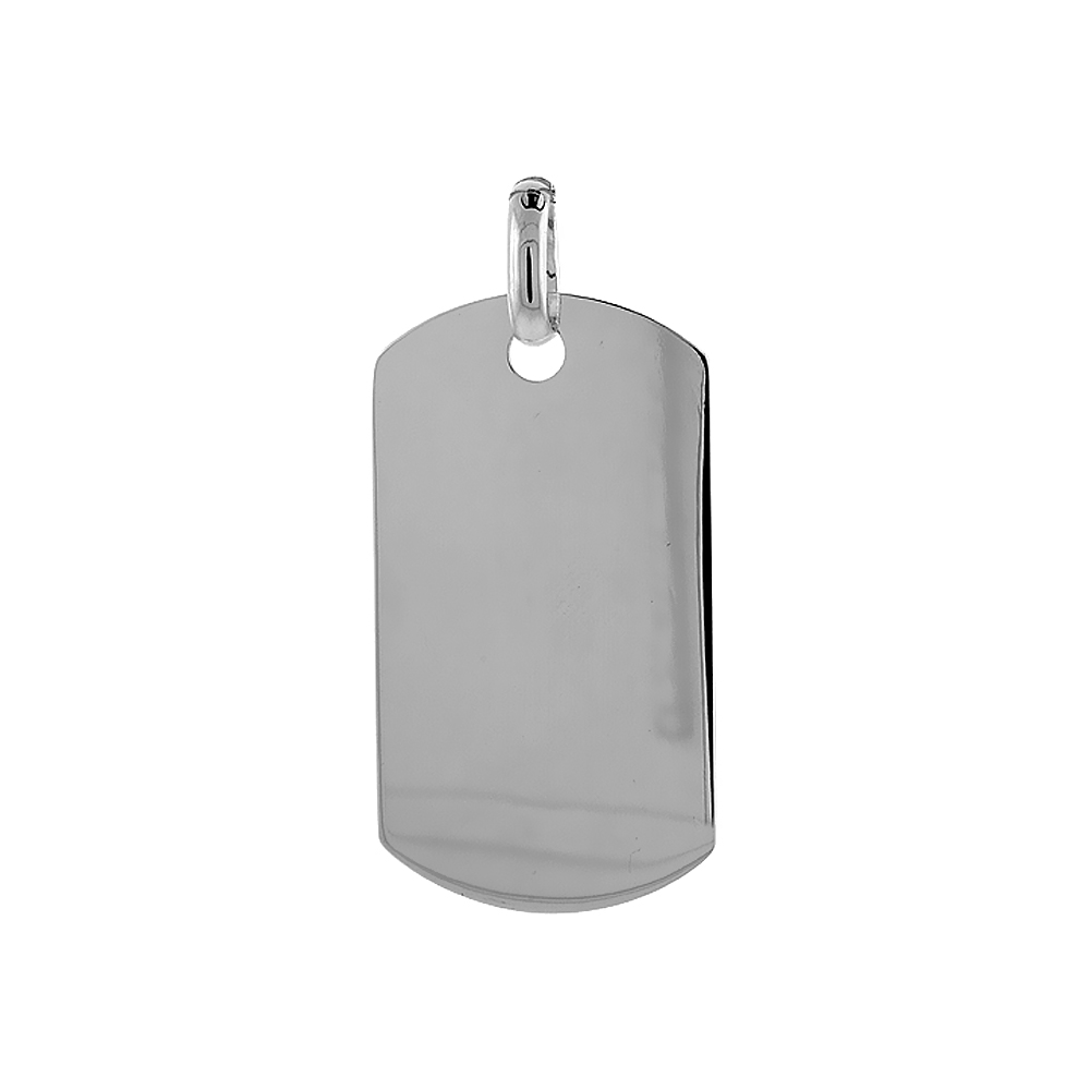 Sterling Silver Dog Tag 2 inch full size