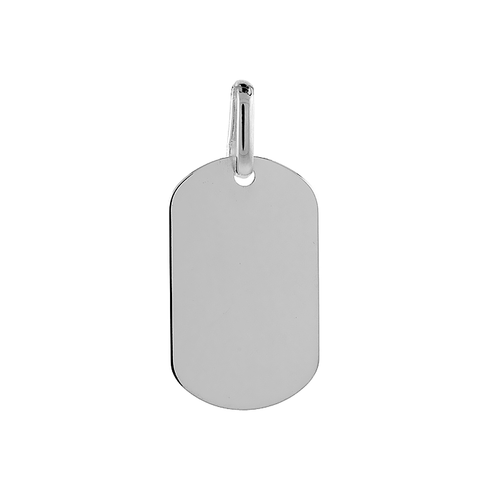 Sterling Silver Dog Tag Small Size 1 3/16 small size