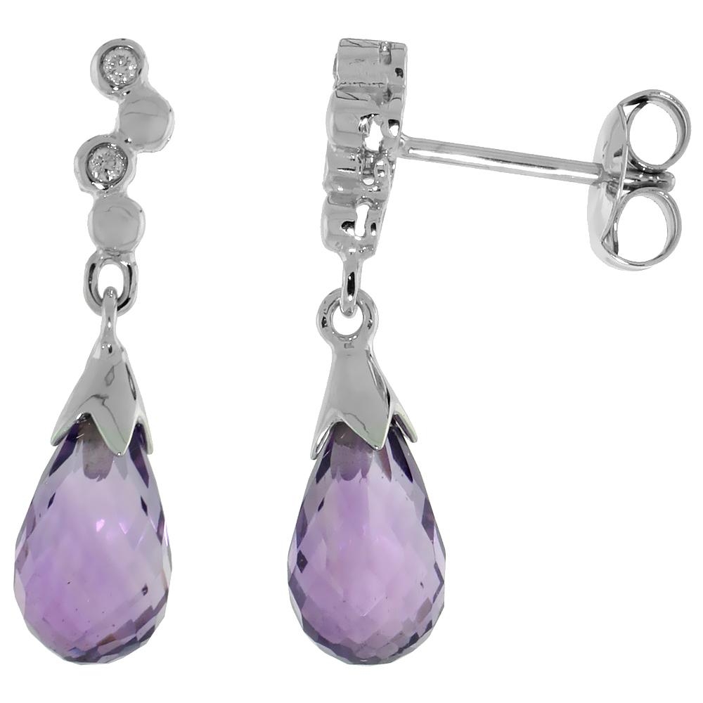10k White Gold Bubbles & Amethyst Earrings, w/ 0.03 Carat Brilliant Cut Diamonds, 7/8 in. (22mm) tall