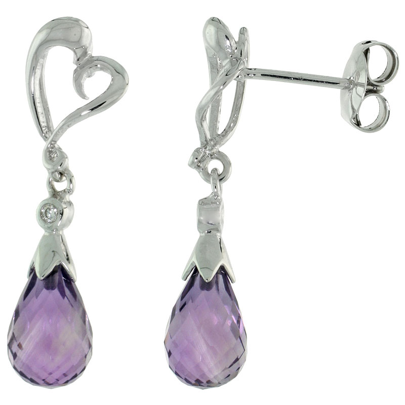 10k White Gold Heart Cut Out & Amethyst Earrings, w/ Brilliant Cut Diamonds, 1 1/16 in. (27mm) tall