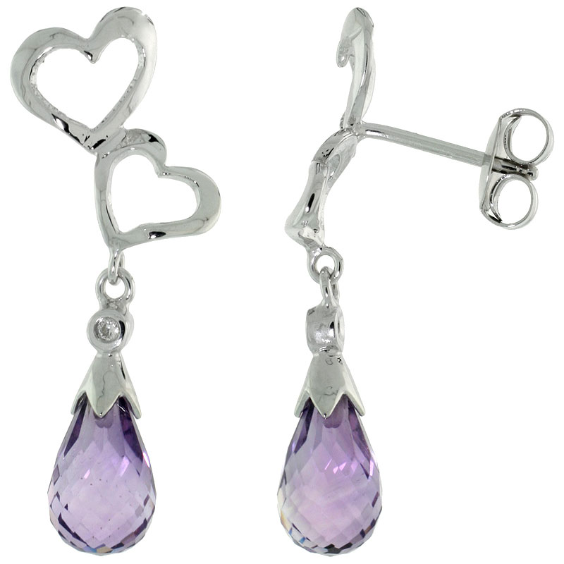 10k White Gold Double Heart Cut Out & Amethyst Earrings, w/ Brilliant Cut Diamonds, 1 1/8 in. (29mm) tall