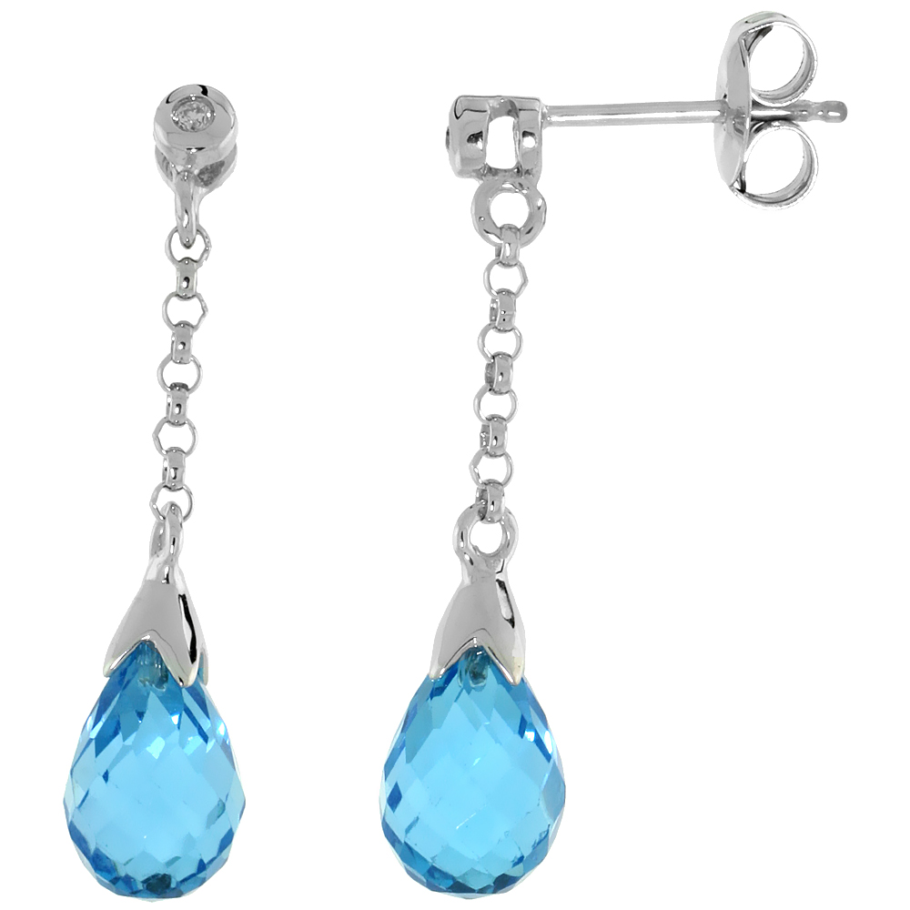 10k White Gold Dangle Blue Topaz Earrings, w/ 0.02 Carat Brilliant Cut Diamonds, 1 1/16 in. (27mm) tall