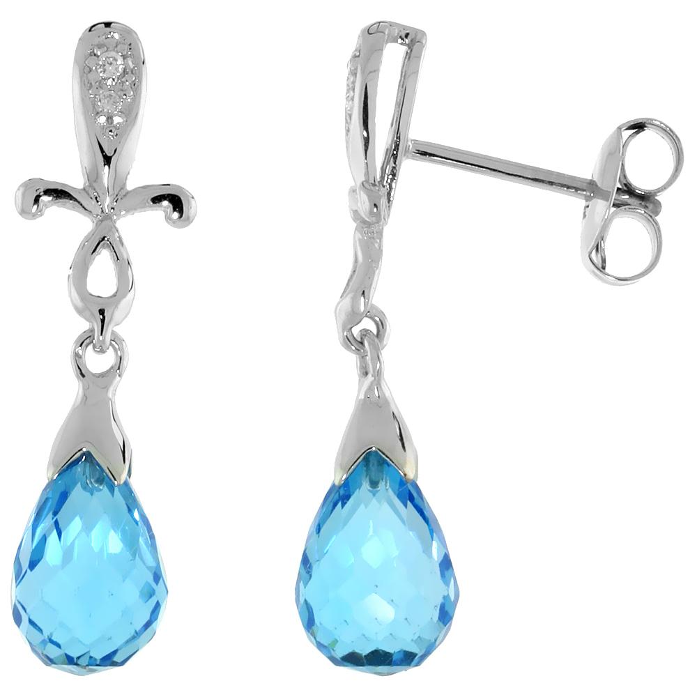 10k White Gold Cross & Blue Topaz Earrings, w/ 0.02 Carat Brilliant Cut Diamonds, 1 in. (25mm) tall