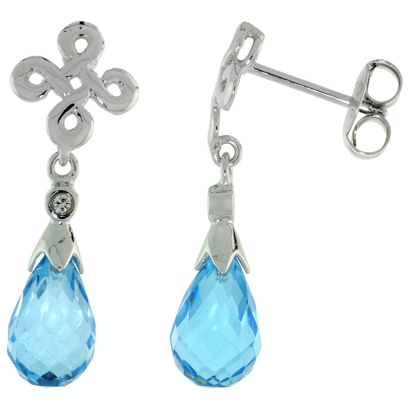 10k White Gold Infinity Cross Blue Topaz Earrings, w/ 0.03 Carat Brilliant Cut Diamonds, 1 in. (25mm) tall