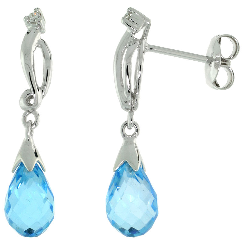 10k White Gold Swirl & Blue Topaz Earrings, w/ 0.03 Carat Brilliant Cut Diamonds, 1 in. (26mm) tall