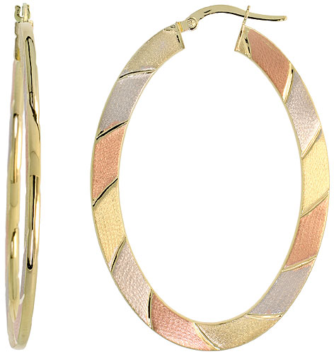 10k Tri Color Gold Flat Hoop Earrings Oval Shape Diagonal Rose White Yellow Stripes Italy 2 inch