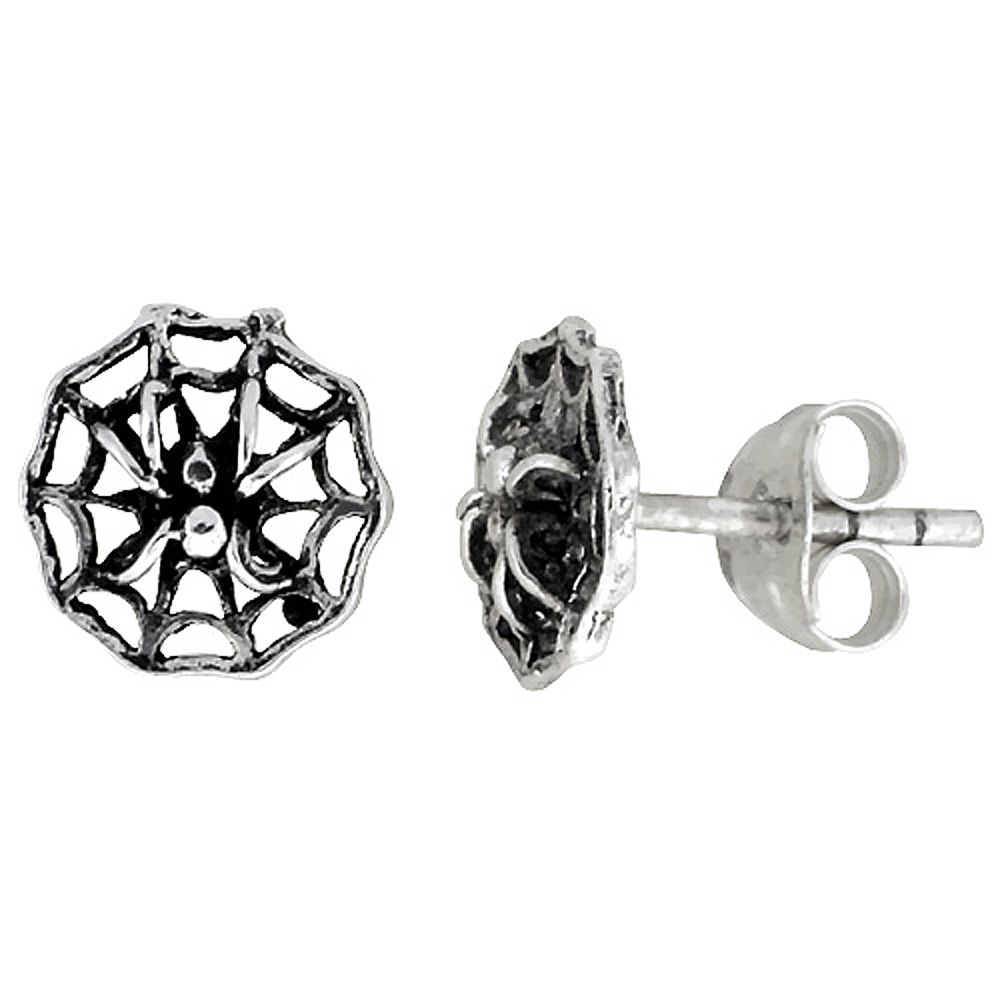 Tiny Sterling Silver Spider Stud Earrings 5/16 inch