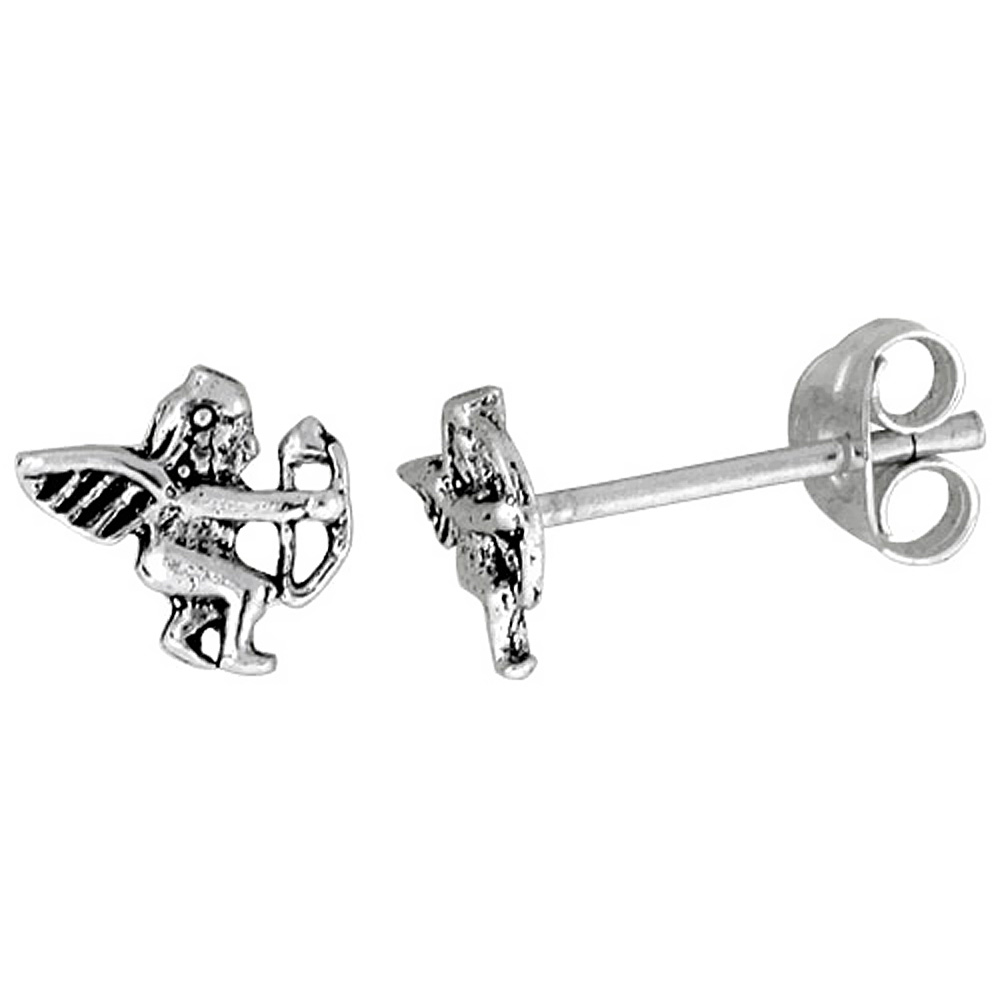 Tiny Sterling Silver Cupid Stud Earrings 5/16 inch