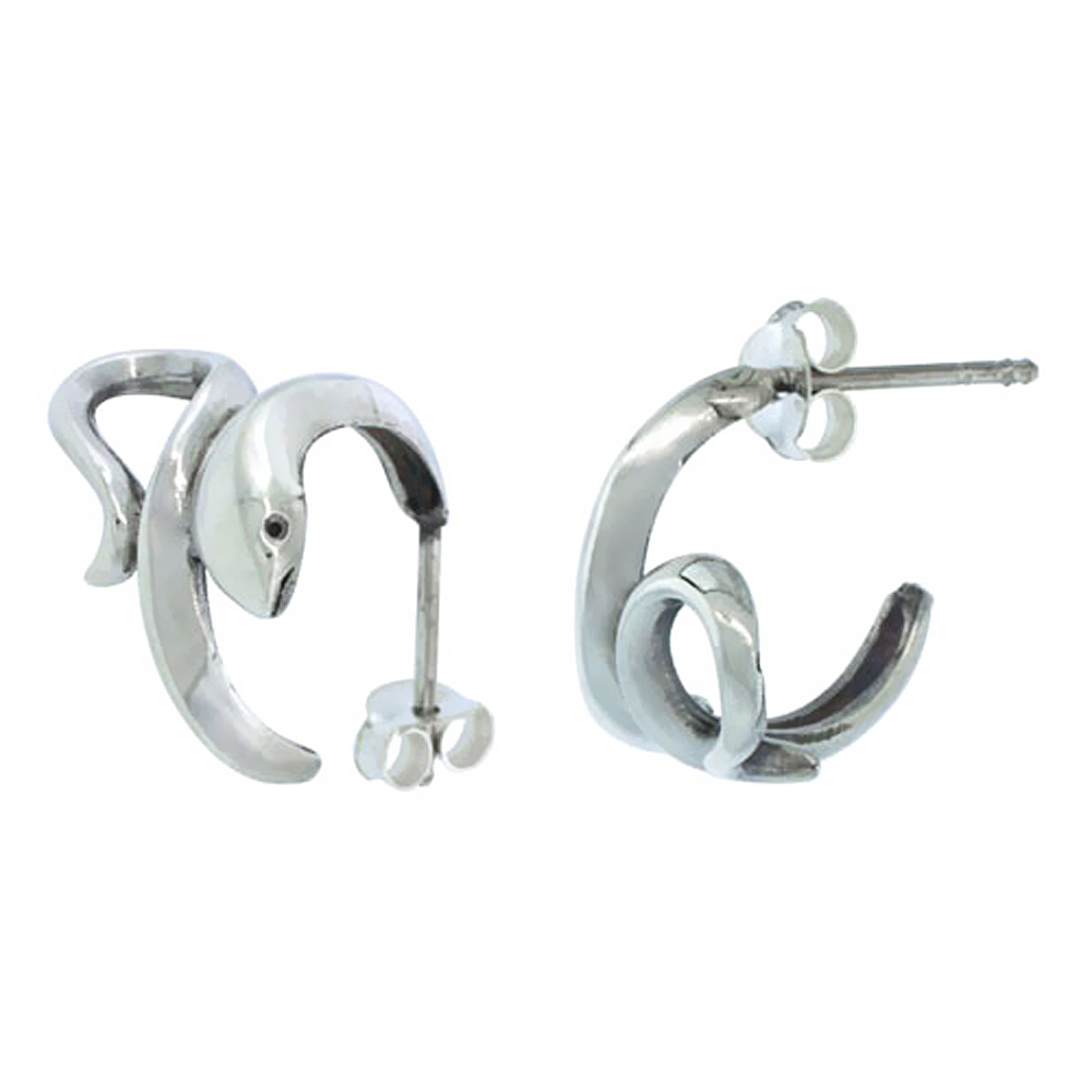 Small Sterling Silver Post Hoop Snake Earrings, 5/8 inch