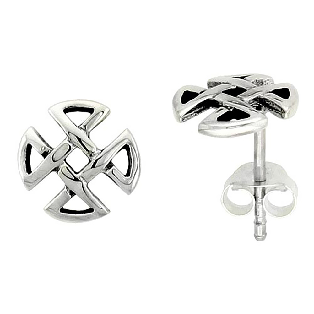 Sterling Silver Quaternary Celtic Knot Stud Earrings, 1/4 inch