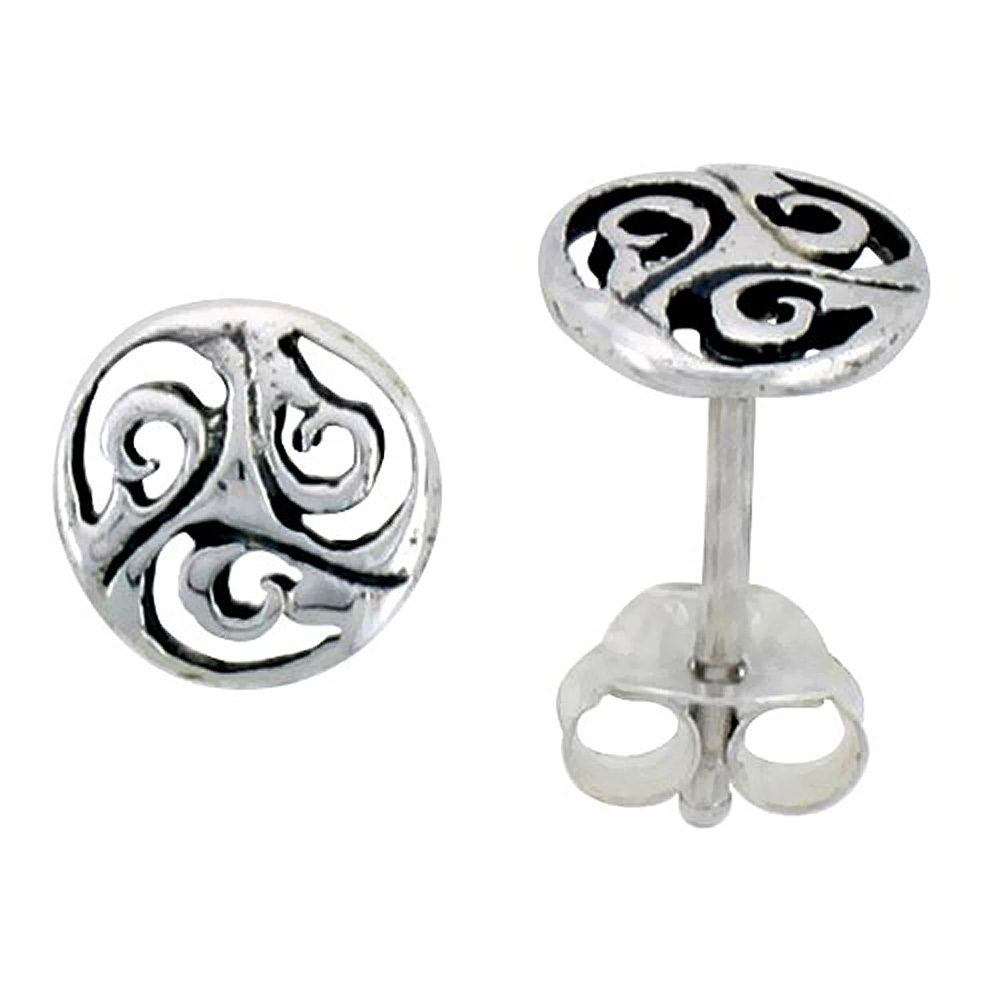 Sterling Silver Celtic Triskelion Stud Earrings, 1/4 inch