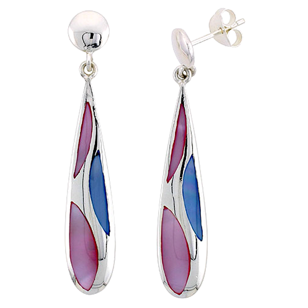 "Sterling Silver Teardrop Pink & Blue Mother of Pearl Inlay Earrings, 1 9/16"" (40 mm) tall"