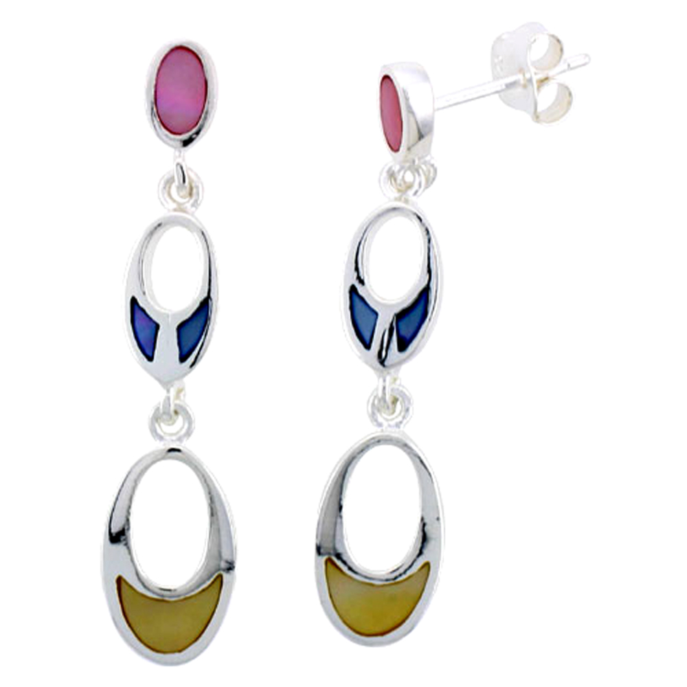"Sterling Silver Graduated Ovals Pink, Blue & Light Yellow Mother of Pearl Inlay Earrings, 1 1/8"" (28 mm) tall"