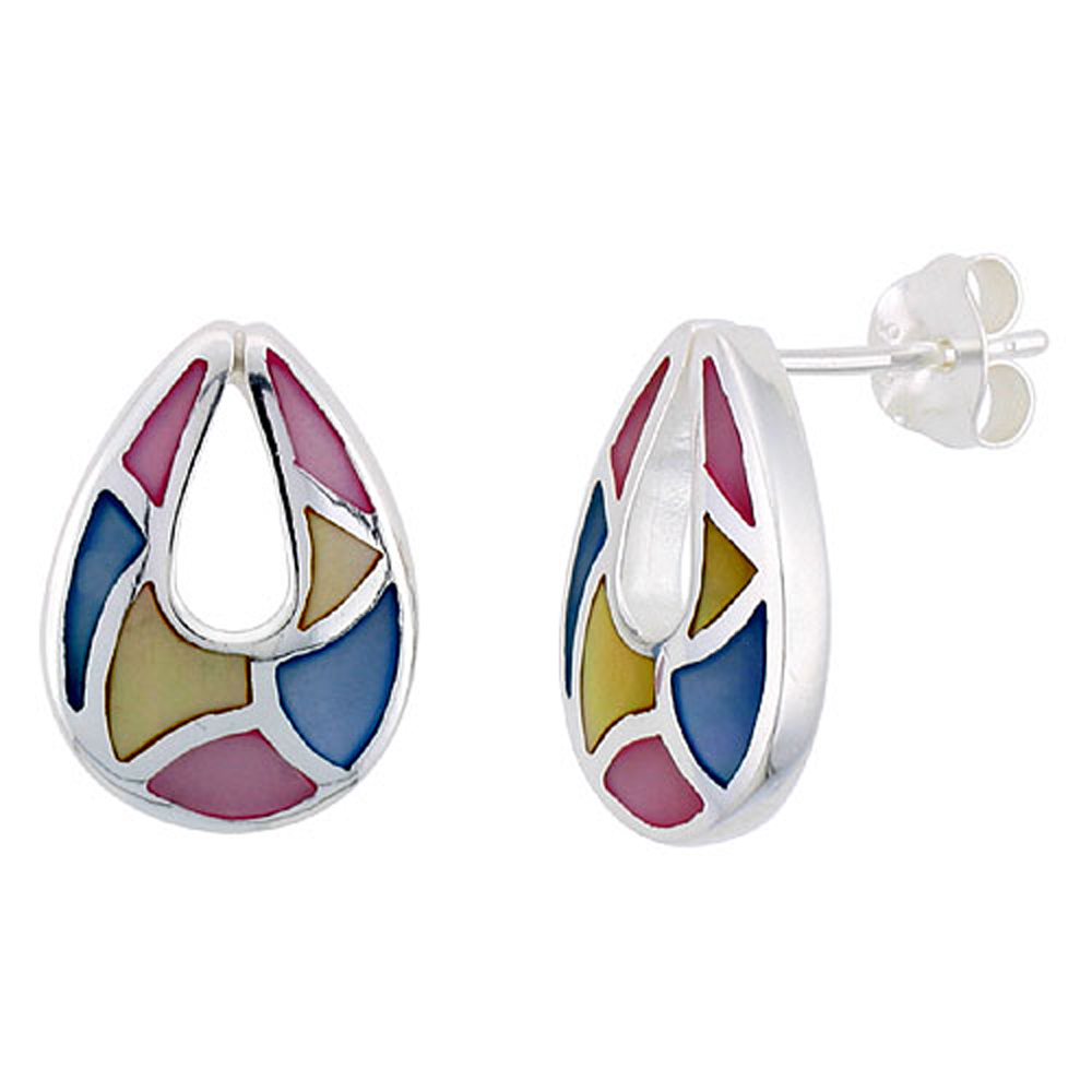 "Sterling Silver Pear-shaped Pink, Blue & Light Yellow Mother of Pearl Inlay Earrings, 11/16"" (17 mm) tall"