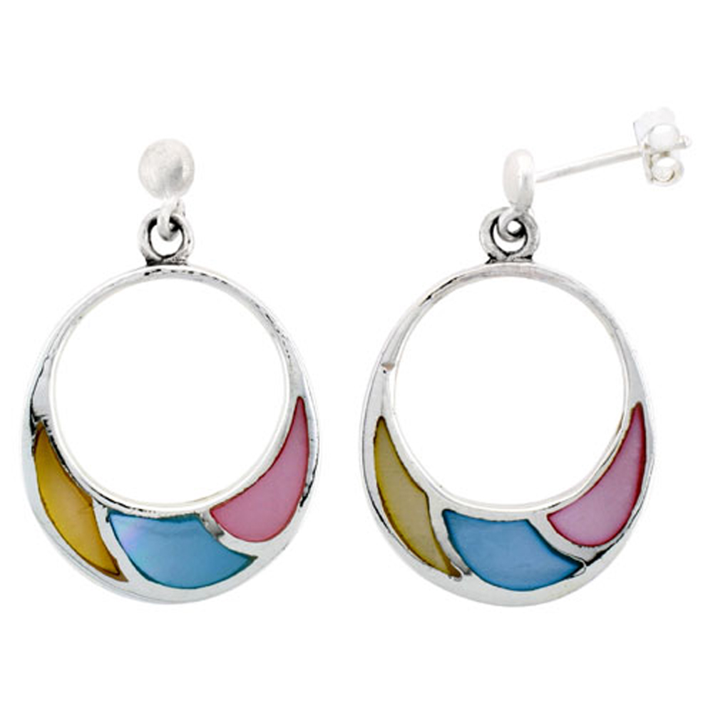 "Sterling Silver Circle Pink, Blue & Light Yellow Mother of Pearl Inlay Earrings, 7/8"" (22 mm) tall"